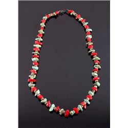Navajo Turquoise and Coral Heishi Necklace