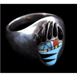 Zuni Inlaid Turquoise, Coral, Onyx & Opal Paw Ring