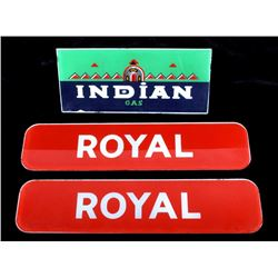 Indian & Royal Gas Station Pump Glass Inserts