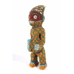 African Bamileke Beaded & Sea Shell Statue