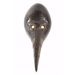 African Tribal Carved Wooden Raven Face Mask