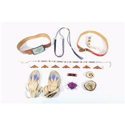 Beaded Indian Belts, Moccasin, Buckle, & Hair Clip