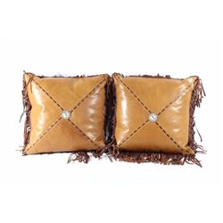 Fringed Leather & Silver Western Pillows