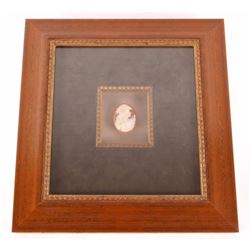 Cameo Carved Shell Portrait Mounted in Shadow Box