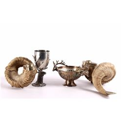 Rams Horn Candleholders and Elk Themed Pewter