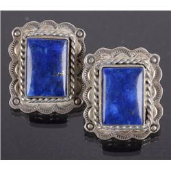 Secatero Navajo Sterling & Lapis Lazuli Earrings