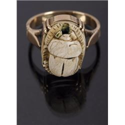 14k Gold, Excavated Burial Scarab Ring