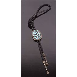 Navajo Sterling Silver & Blue Moon Turquoise Bolo