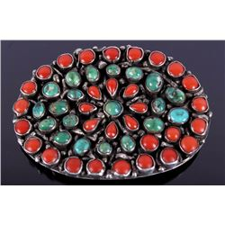 Oxblood Coral & Turquoise Silver Belt Buckle