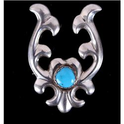 Signed Sterling Silver Brooch with Turquoise Stone