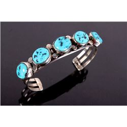 Sterling Silver Turquoise Row Cuff Bracelet.
