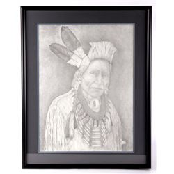 Native American Pencil-Sketch Portrait Print