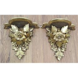 Pair 19th Century Giltwood Floral Wall Brackets