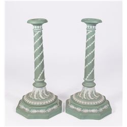 Pair Wedgwood Green & White Candlesticks