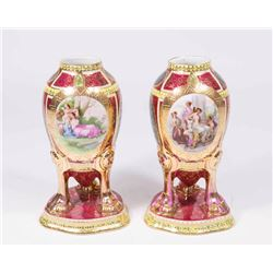 Pair of Royal Vienna Style Porcelain Vases