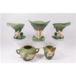 Lot 5 Roseville Pottery Magnolia Pattern Items