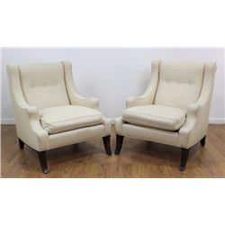 Pair French 40s Style Mahogany Club Chairs