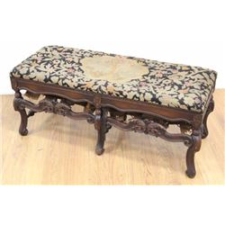 Baroque Style Carved Walnut Bench