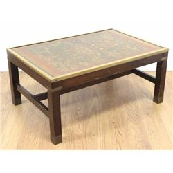 :Brass-Mounted Coffee Table with Pictorial Top