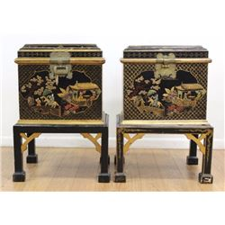 Pair Chinoiserie Decorated Chests on Stands