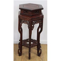 Chinese Carved Hardwood 6-Legged Stand