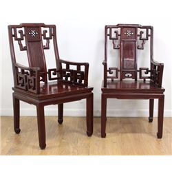 Pair Hardwood Chinese Altar Chairs