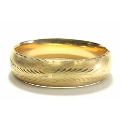 14K Yellow Gold Etched Bangle