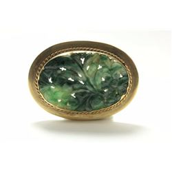 14K Yellow Gold & Carved Jade Brooch