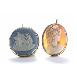 Wedgwood Pin in 14K Gold Frame & Oval Cameo Pin