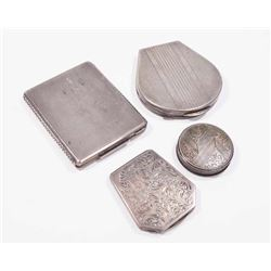 Lot 4 Continental Silver Compacts