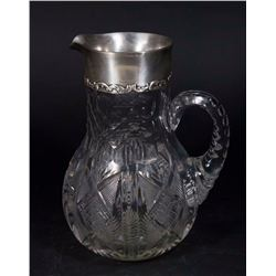 Whiting Sterling Silver & Cut Glass Pitcher