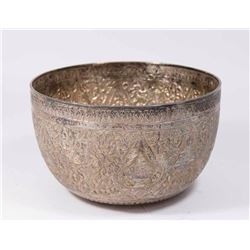 Persian Silver Bowl with Figural Repousse Design
