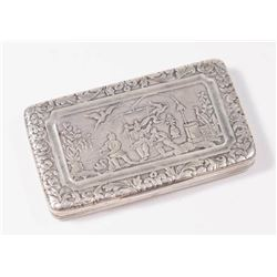 French Silver Pill Box with Asian Motif on Top