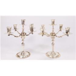 Pair Mexican Sterling Silver 4-Arm Candelabra