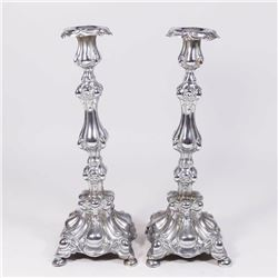 Pair Baroque Style Polish Silverplate Candlesticks