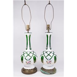 Pair of Bohemian Cut to Clear Glass Vases as Lamps