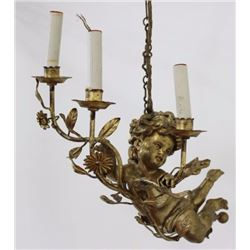 Tole & Giltwood Figural Chandelier