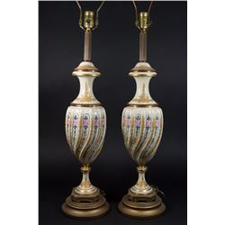 Pair 19th C. Sèvres Style Gilt Metal Mounted Lamps