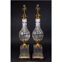 Pair Neoclassic Style Brass & Cut Glass Lamps