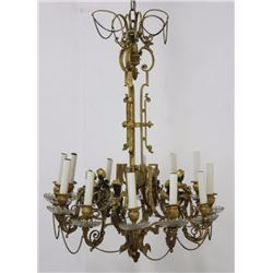 French Figural Bronze & Cut Glass Chandelier