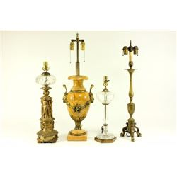 Sienna Marble Lamp with 3 Victorian Brass Lamps