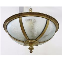 Neoclassic Style Etched Glass & Brass Chandelier