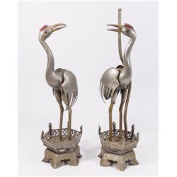 Pair Chinese Pewter Crane Form Lamps