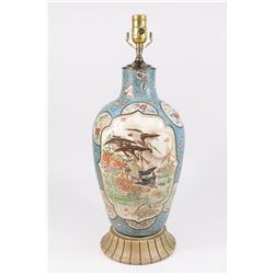 Chinese Cloisonné on Ceramic Blue Ground Lamp