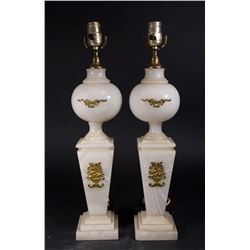 Pair Neoclassic Style Gilt Metal Mated Onyx Lamps