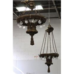 Pair Large Gilt Gesso Chandeliers