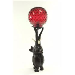 Figural Elephant Bronze Lamp with Glass Shade