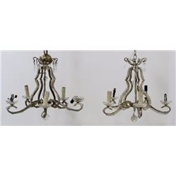 Pr Rococo Style Silvered Metal 6-Light Chandeliers