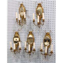 Set 5 Neoclassic Style Mirrored Brass Sconces