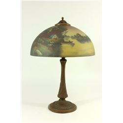 Reverse Painted Lamp with Camping Scene